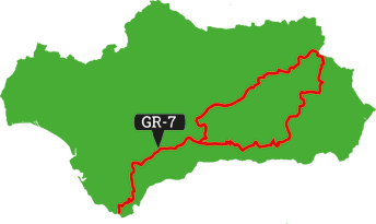 Wandelroute locator GR-7 Andalusië